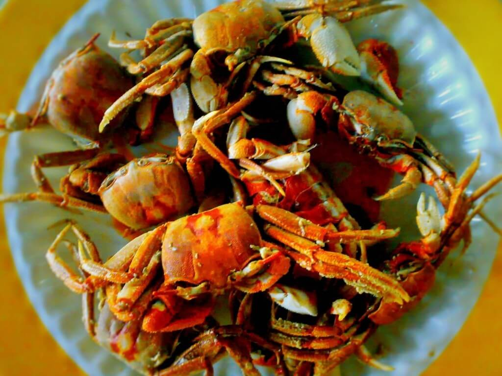 Fried Crablets (Fresh crabs and Shore / River crabs)